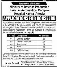 Pakistan Aeronautical Complex Hospital Kamra Jobs