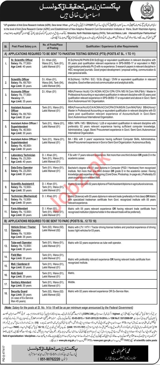 PARC Islamabad Jobs 2018