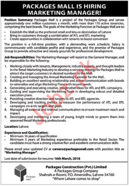 Manager Marketing Jobs 2018 in Lahore