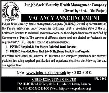 PSSHMC Punjab Jobs 2018