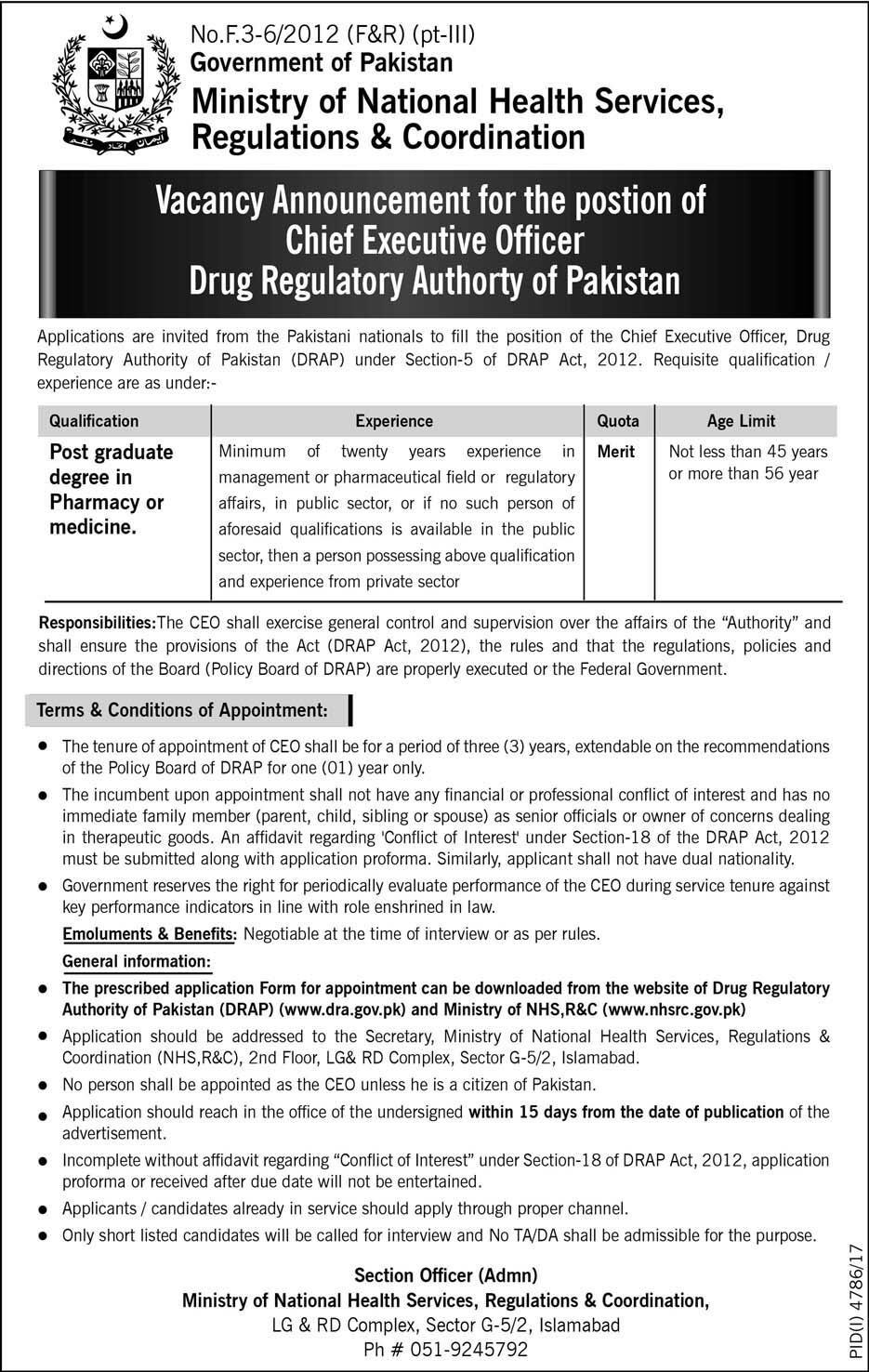 Ministry of National Health Services  Jobs 2018