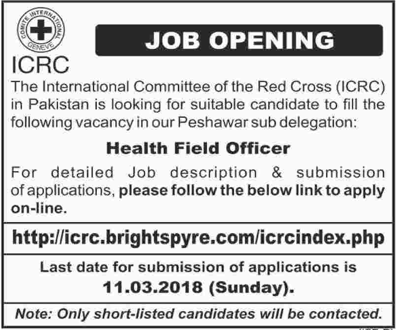 ICRC Peshawar NGO Jobs 2018 Health Field Officer