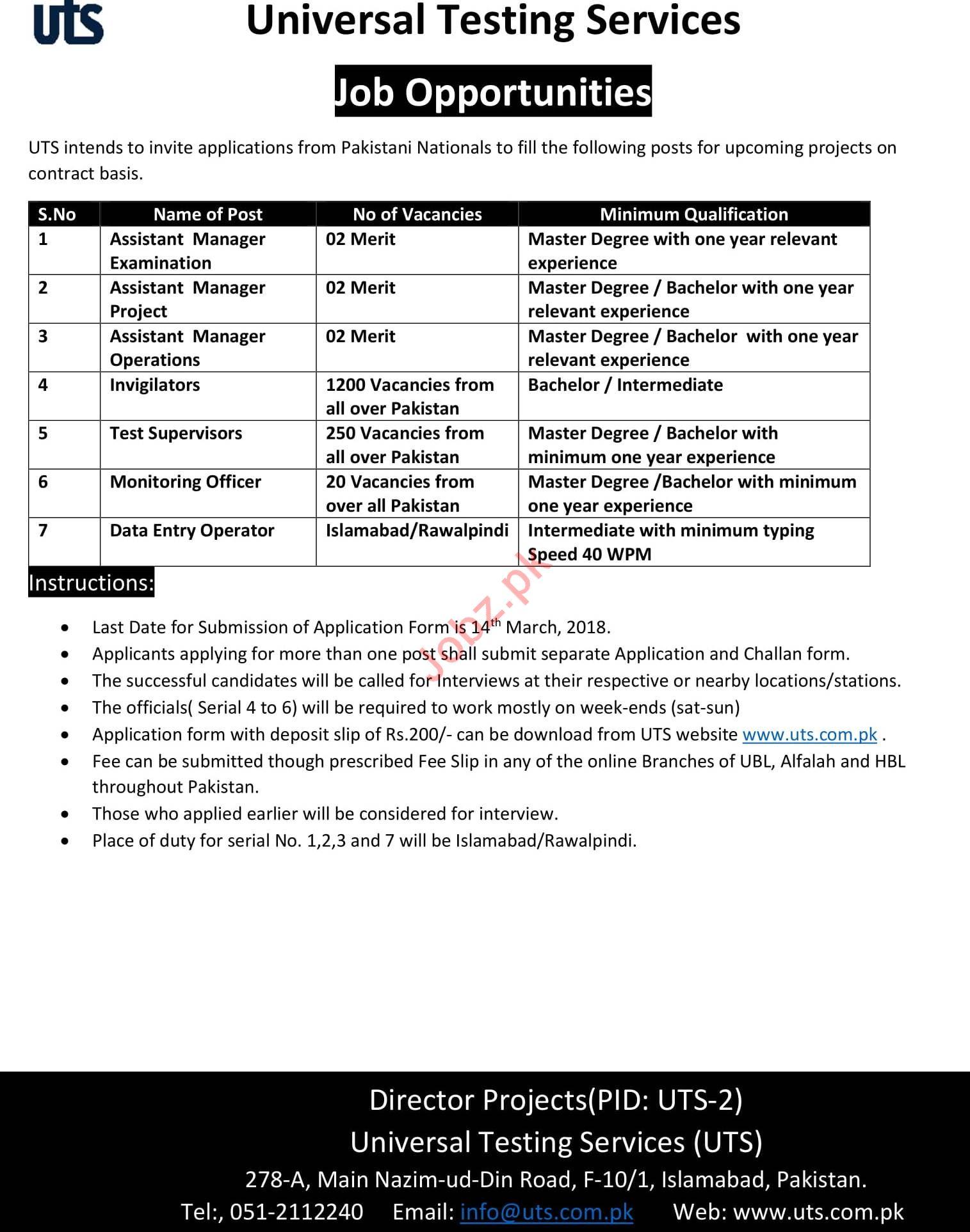Universal Testing Services UTS Islamabad Jobs 2018 2019 Job