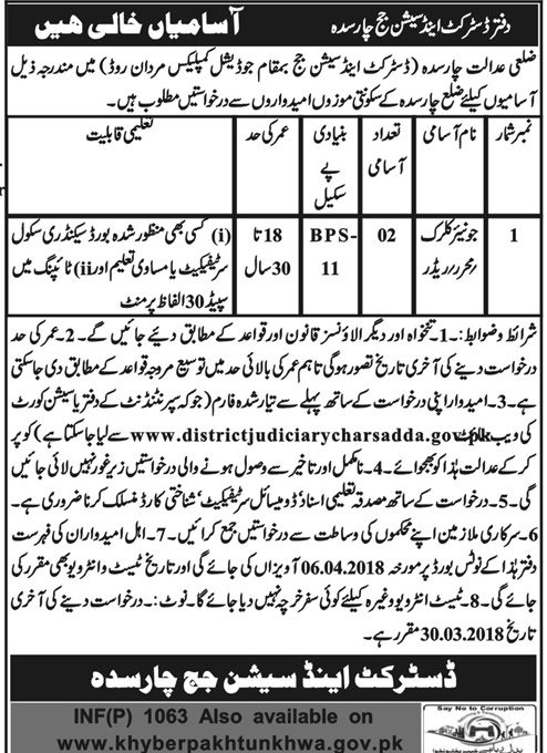 District and Session Judge Charsadda Jobs