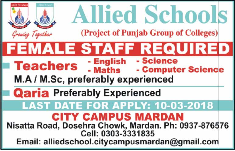 Allied School  City Campus Faqirabad Mardan Teacher Jobs