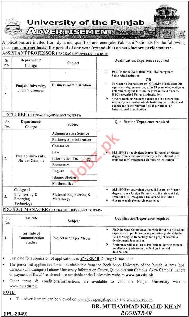 University of the Punjab PU Jobs 2018