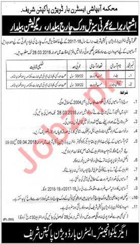 Irrigation Department Pakpattan Jobs 2018