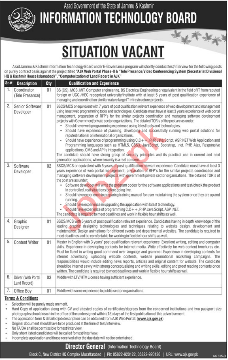 AJK Information Technology Board Muzaffarabad Jobs 2018
