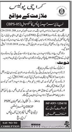 Karachi Police Recruitment