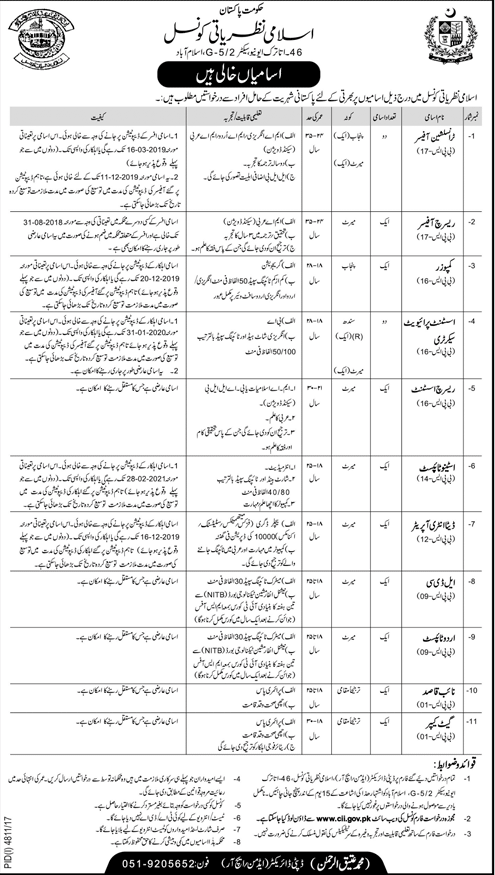 Council of Islamic Ideology Govt of Pakistan Jobs 2018