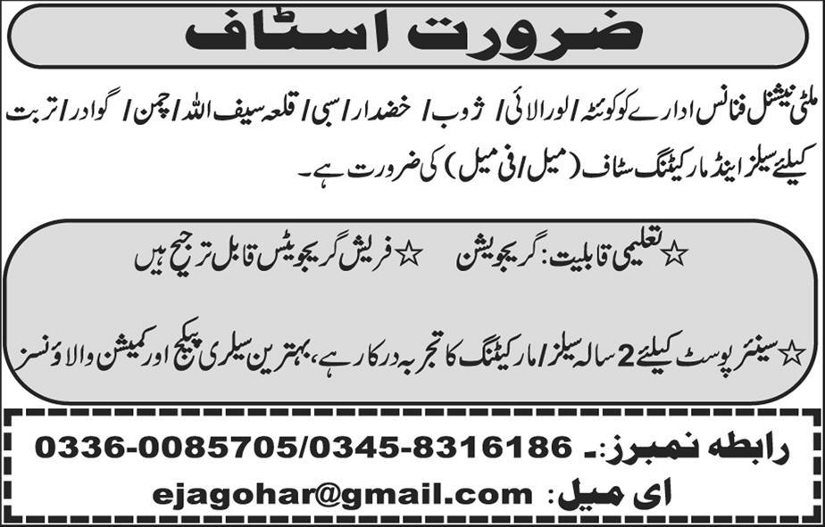 Sales and Marketing Staff Job in Multinational Finance