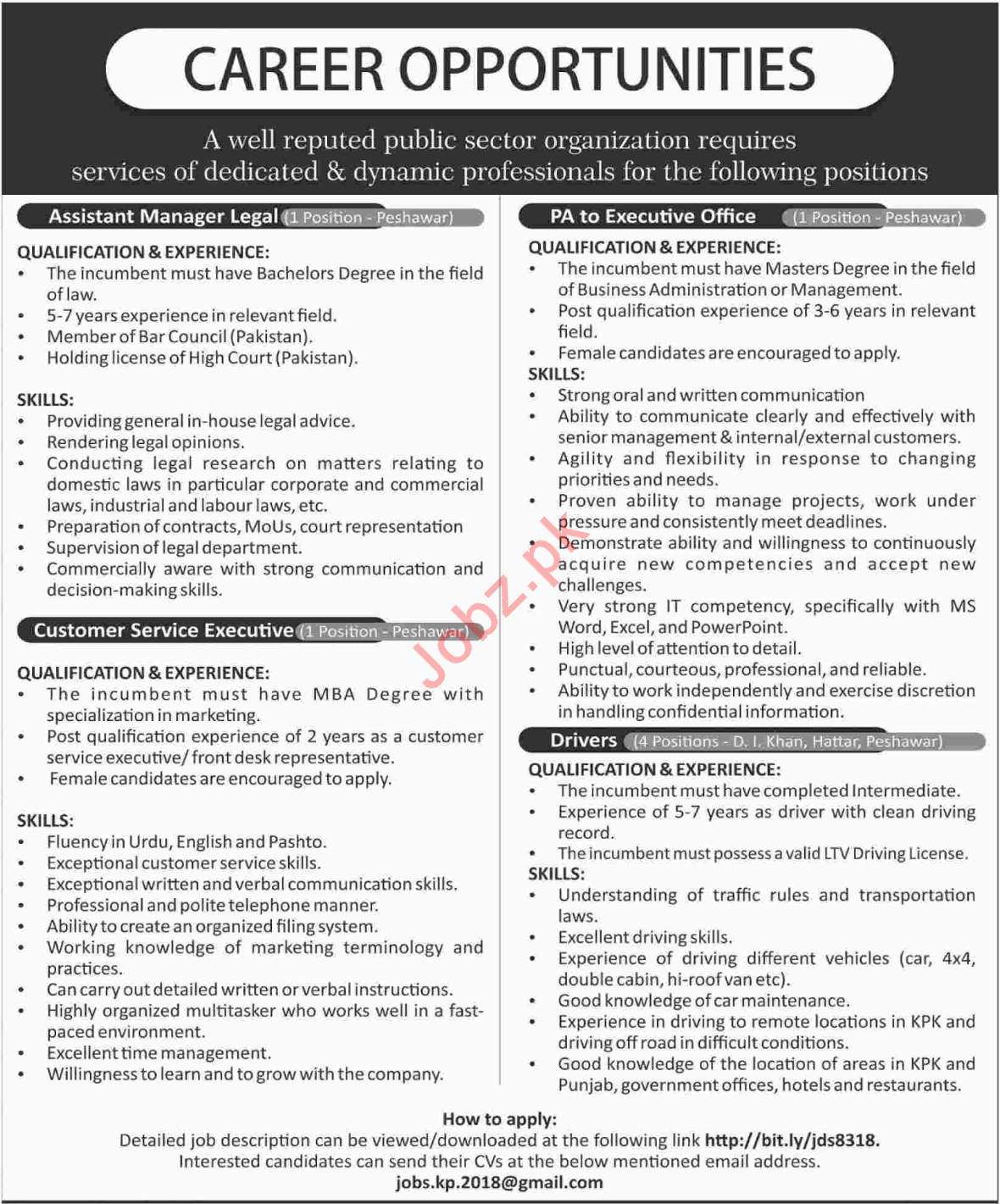Assistant Manager, Assistant, Executive & Drivers Jobs 2018