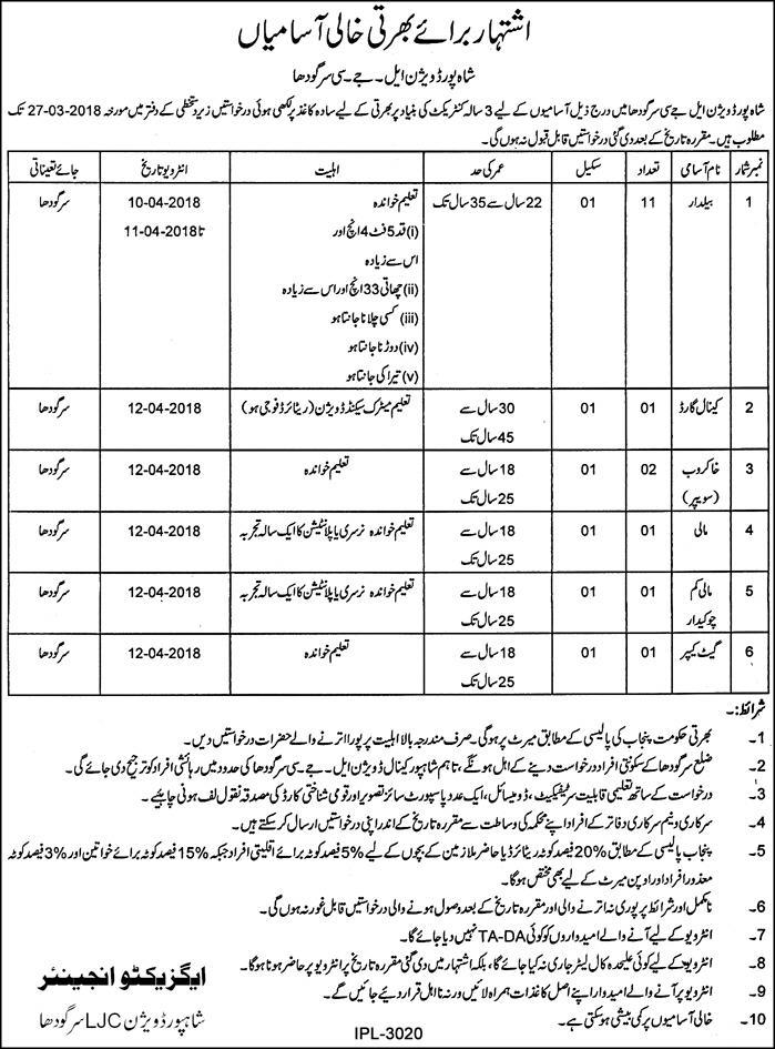 Shahpur Division LJC Sargodha Jobs