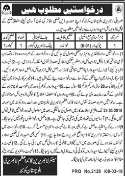 Quaid E Azam Library Balochistan Quetta Jobs