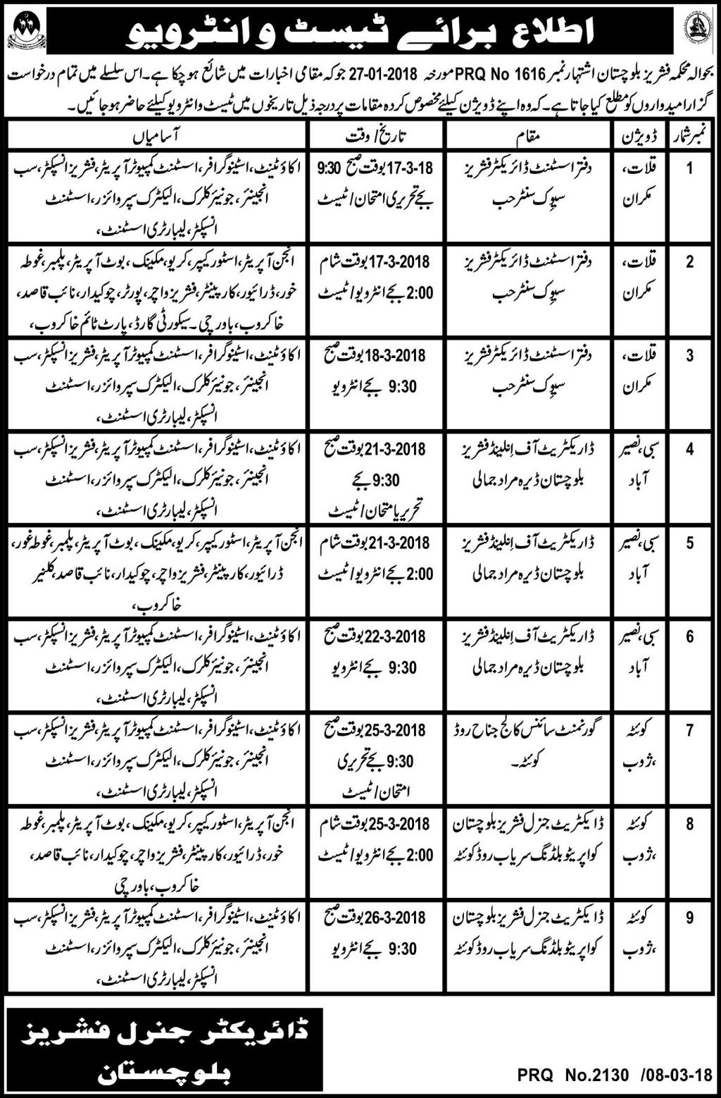 Department of Fisheries Computer Operators Jobs