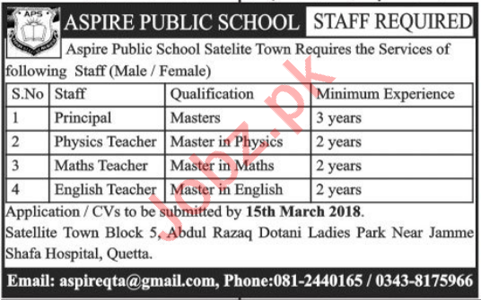 Aspire Public School Quetta Jobs 2018 Teachers & Principal