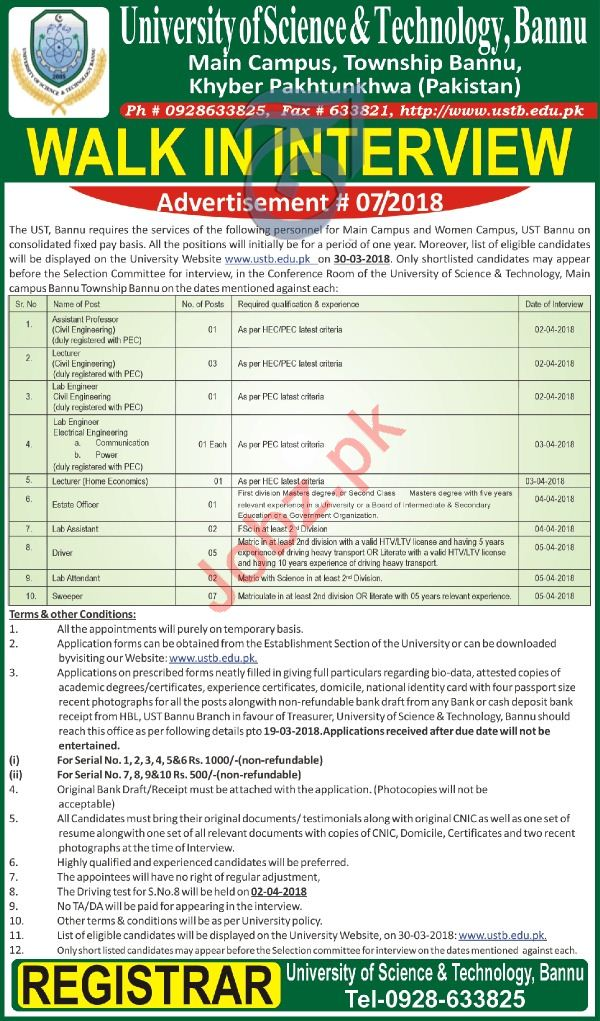 University of Science and Technology Bannu Job Interviews