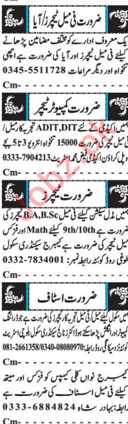 Teachers Jobs 2018 in Quetta