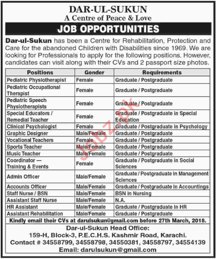 Dar Ul Sukun Karachi Medical, Administration, Teaching Jobs