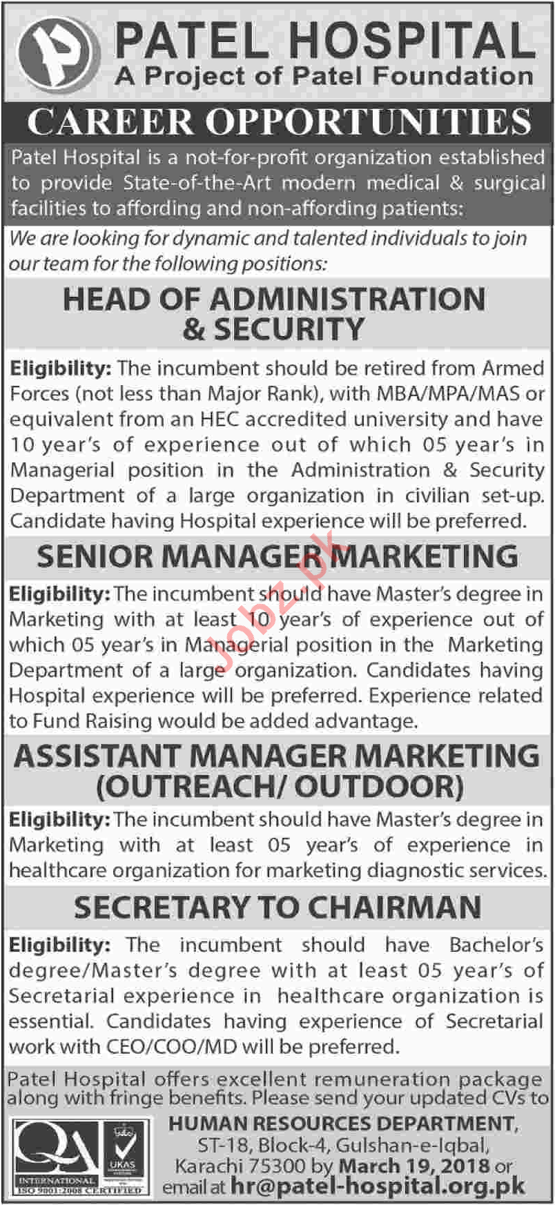 Patel Hospital, Administration, Marketing, Secretary Jobs