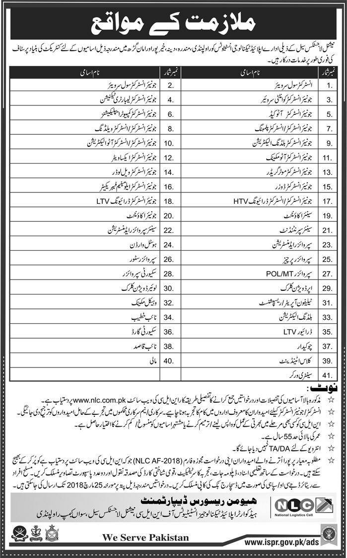 National Logistics Cell NLC Engineering Professionals Jobs
