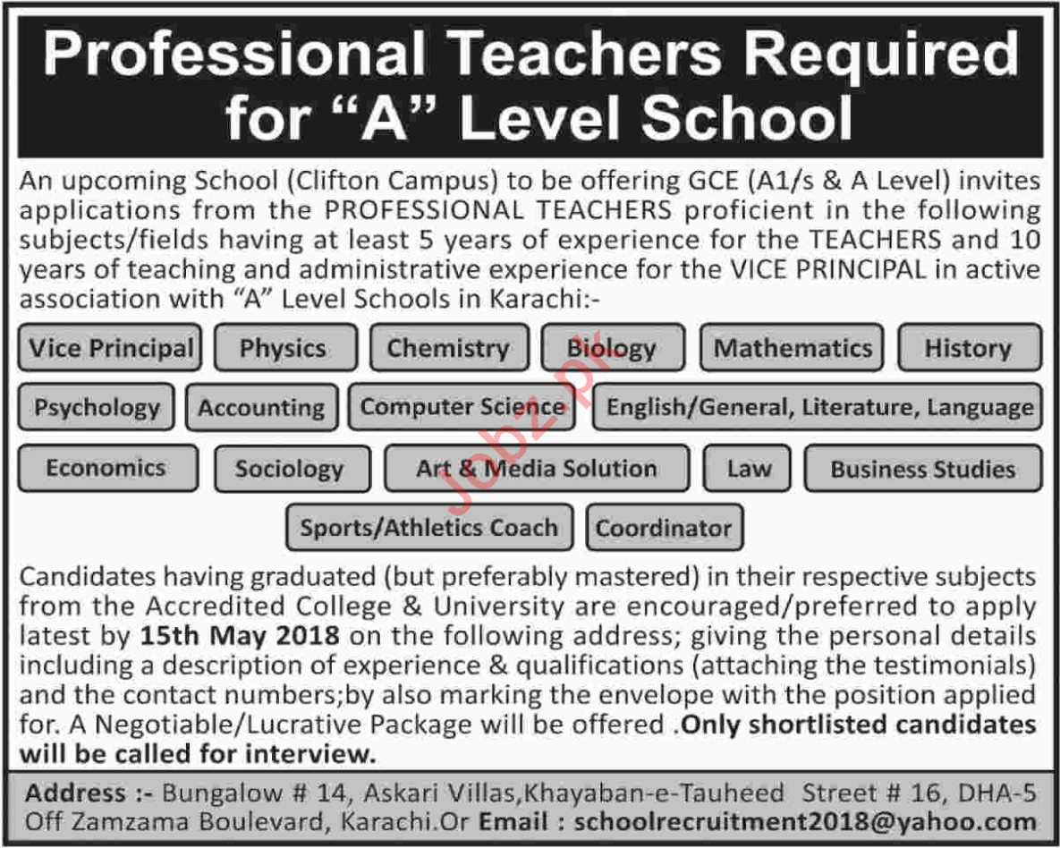 Professional Teachers Jobs for A Level School