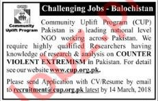 Community Uplift Program CUP Balochistan Jobs 2018