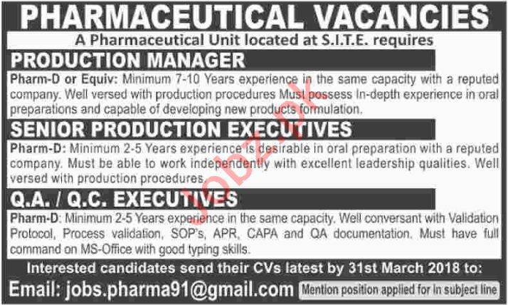Pharmaceutical Jobs - Production Manager, QA / QC Executive