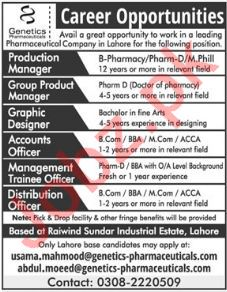 Genetics Pharmaceuticals Lahore Jobs 2018