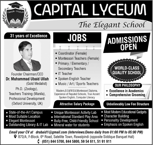 Capital Lyceum Teaching Jobs
