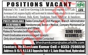 EFU Life Assurance Ltd - Sales & Administrator Jobs