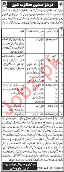 Provincial Transport Authority Balochistan Jobs 2018 Drivers