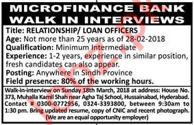 Microfinanace Bank Jobs, Relationship / Loan Officers
