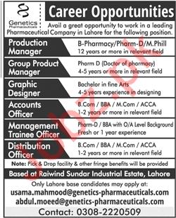 Genetics Pharmaceuticals Lahore Jobs 2018 Managers
