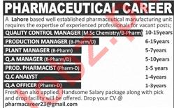 Pharmaceutical Manufacturing Unit Lahore Jobs