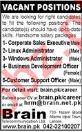 Brain Telecommunication Lahore Jobs 2018 for Administrators