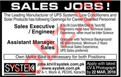Sales Executive / Engineer & Assistant Manager Sales Jobs