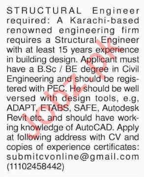 AutoCAD Designer & Structural Engineer Jobs in Karachi