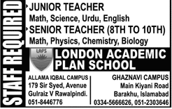 London Academic Plan School LAPS Teachers Jobs