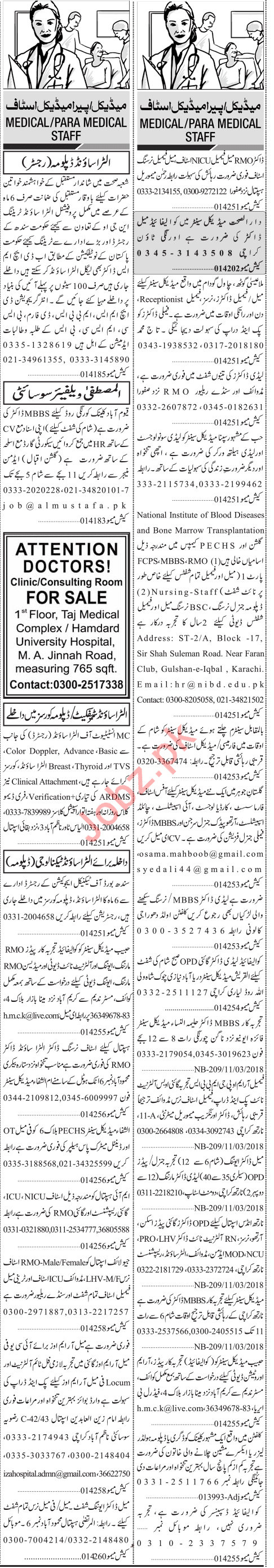 Paramedical Staff Jobs in Lahore 2018