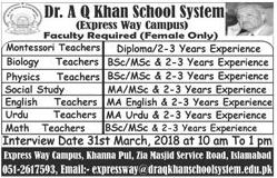 Dr A Q Khan School System Teachers Jobs