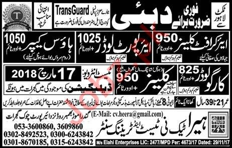 Aircraft Cleaner, Cargo Loader & House Keeper Jobs 2018