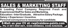 Sales and Marketing Staff Job Opportunity