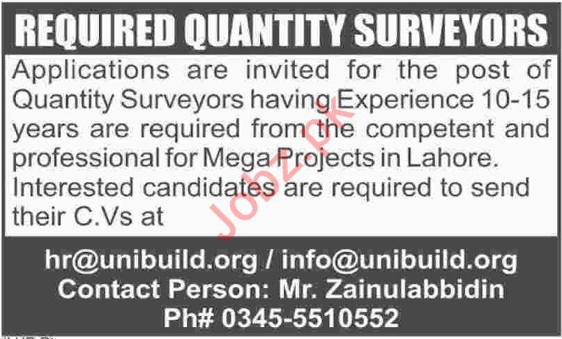 Uni Build Associates Lahore Jobs 2018 Quantity Surveyors