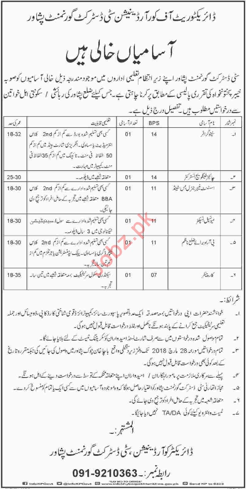 Directorate Of Coordination City District Govt Peshawar Jobs
