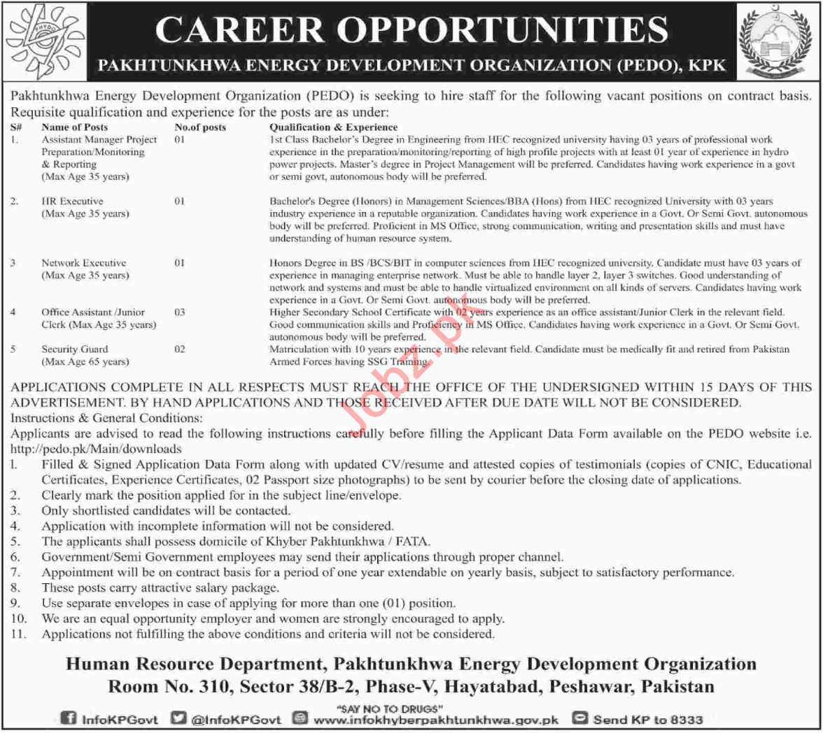 PEDO Peshawar Jobs 2018 Manager & Executives