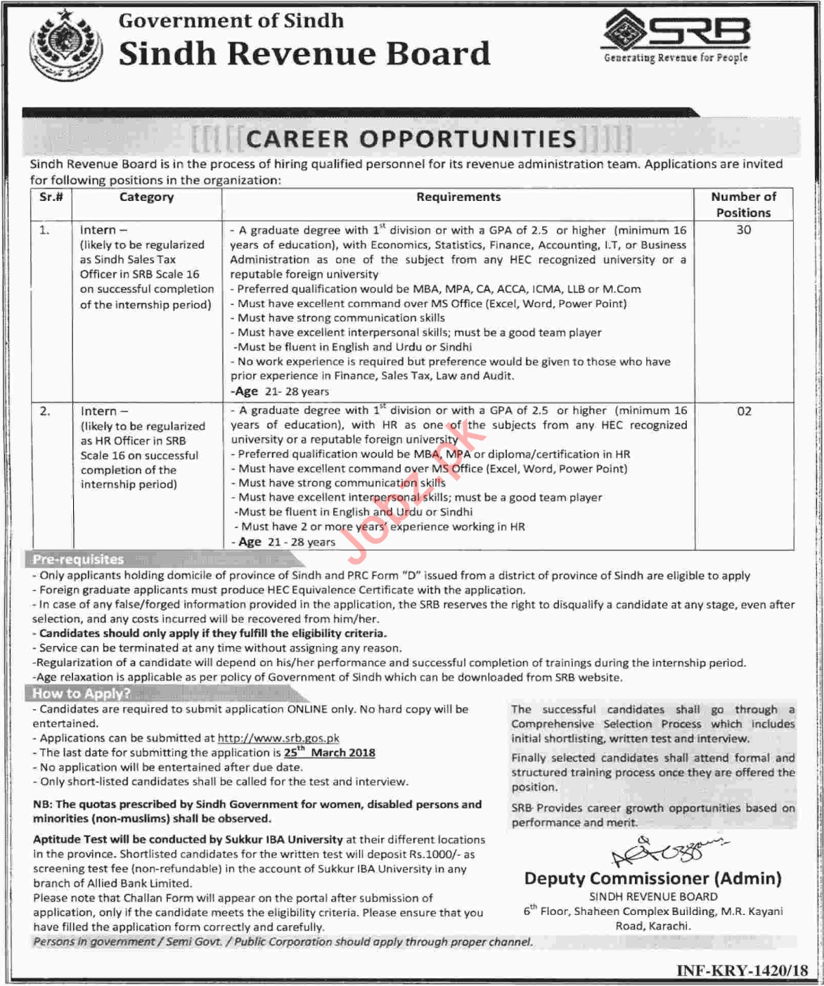 Sindh Revenue Board SRB Jobs 2018 Sales Tax & HR Officer