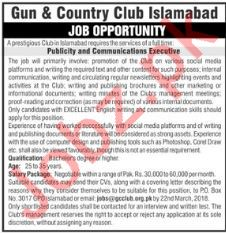 Gun & Country Club Islamabad Jobs Communication Executive