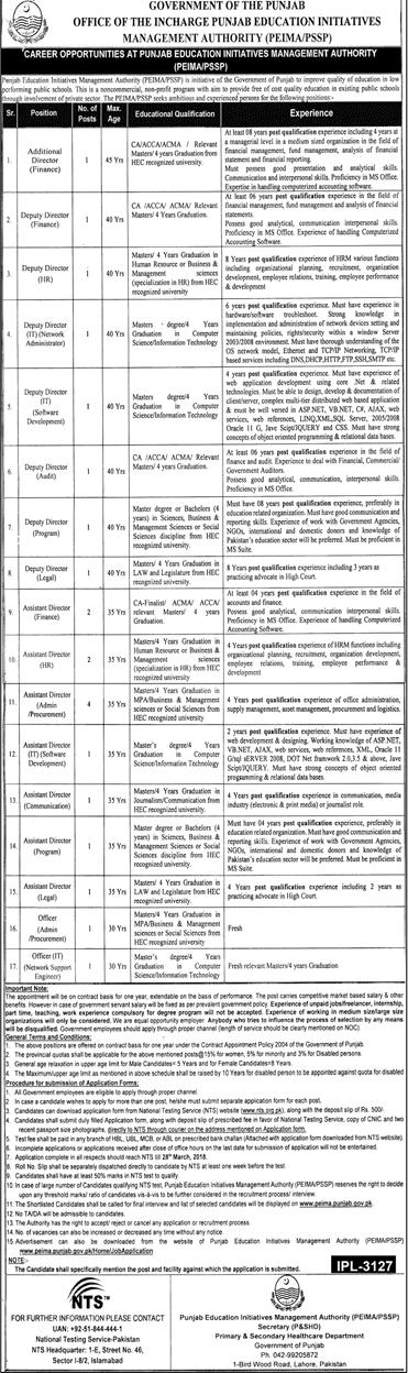 Punjab Education Initiative Management Authority PEIMA Jobs