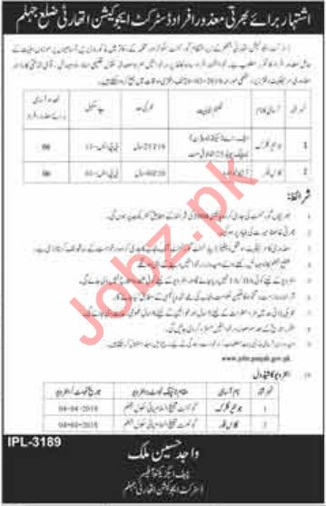 District Education Authority DEA Jhelum Jobs 2018